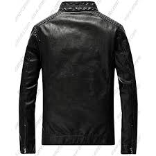mens casual zip up slim er faux leather jacket