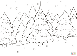 Forest Trees Coloring Pages For Kids With Christmas Tree In The