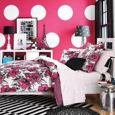 home office colorful girl. Colorful Vogue Bedding Design With Pink White Wallpaper Idea Also Black Striped Rug Under The Home Office Girl
