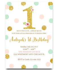 1st Birthday Girl Birthday Colorful Girl Birthday Invitation Cute