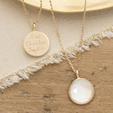 mother of pearl pendant. Personalised Mother Of Pearl Pendant Necklace Gold Plated
