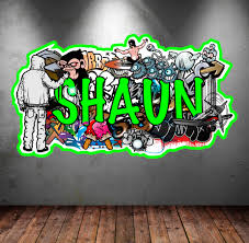 personalized name full color graffiti wall decals cracked 3d wall sticker mural on graffiti wall art bedroom with personalized name full color graffiti wall decals by mysticky on