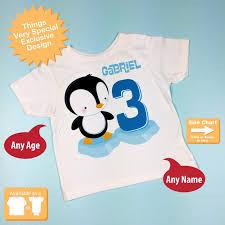 Boys 3rd Birthday Penguin Shirt Personalized Third Birthday Boy Penguin Theme Tee Shirt Or Onesie 02012013f