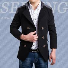 whole mens slim double ted pea coat men duffle wool pea coat winter warm mixed colors korean casual jacket pea coats men double ted pea coats