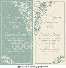 Baroque Wedding Invitations Vector Stock Baroque Wedding Invitation Blue And Beige Clipart