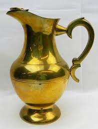 Decorative Water Pitchers Large Brass Water Pitcher With Ice Lip Catch Jug Handled Vtg 19