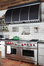 Side by Side Double Oven Range Kitchen Transitional with Black Range Hood  Cut