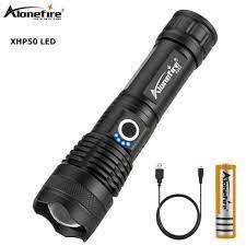AloneFire H002 XHP50 Đèn Pin LED Đoàn Tàu Vận Tải Ống Kính Mạnh Mẽ 26650 Pin  Chiến Thuật Đèn LED Zoom Xoay ĐÈN Pin LED LED Flashlights