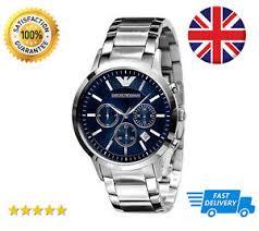 emporio armani ar2448 blue dial mens stainless steel chronograph image is loading emporio armani ar2448 blue dial mens stainless steel