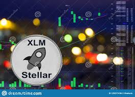 Stellar Stock Chart Coin Cryptocurrency Xlm On Night City Background And Chart