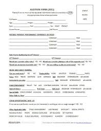 form to a helpful form to use when holding auditions