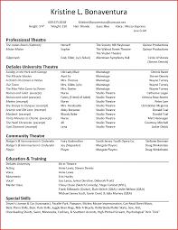 How To Write Technical Theatre Resume Beginner Actor An Acting