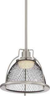 tex led brushed nickel pendant light wire mesh shade