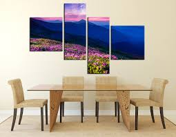 >4 piece huge canvas art blue mountain multi panel canvas landscape  4 piece wall decor blue mountain group canvas dining room flowers canvas wall art