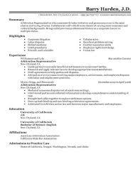 Best Arbitration Representative Resume Example Livecareer