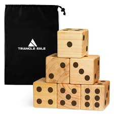 giant wooden yard dice jumbo outdoor lawn gaming set 3 5 with carrying case
