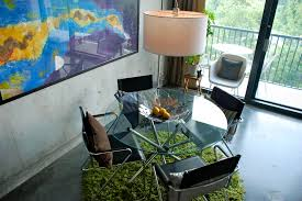 round glass dining table dining room eclectic with cb2 chrome concrete concrete