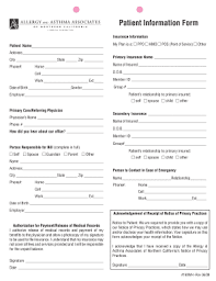 patient information form fillable online patient information form allergy asthma