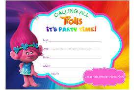 Kids Invitations Trolls Party