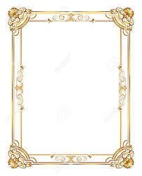 frame border design. Gold Photo Frame With Corner Line Floral For Picture, Vector Border Design Decoration Pattern R