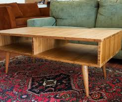 mid century modern style coffee table made with plyboo