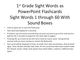 sight word 1st grade 1st grade sight words 1 through 60 with sound boxes