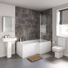 Small L Shaped Bathroom Design 1700x850mm Perth Shower Bath Suite L Shaped Right Handed