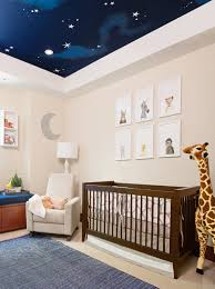 exquisite transitional nursery sky mural is ceiling mural and neutral nursery with wall art and stars on ceiling with area rug