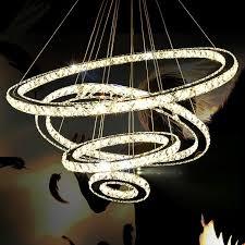 tiffany 4 circle diamond ring led crystal soft white modern pendant lamp 35 42