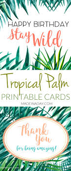 Tropical Palm Birthday And Thank You Card Printables Made