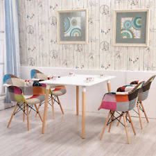 acrylic dining room chairs. 2pcs Modern Fabric Patchwork Dining Chair Eiffel Style Armchair Retro Wood Legs Acrylic Room Chairs I