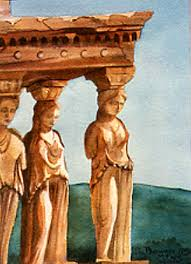 porch of maidens watercolor painting women of caryae greek