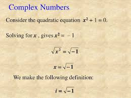 complex numbers consider the quadratic equation