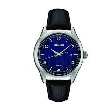 seiko men s black leather strap solar watch sne491 double tap to zoom