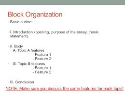academic writing i today compare contrast writing ppt  11 block organization basic outline i introduction opening