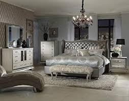 Amazon.com: Hollywood Swank Queen Graphite Bedroom Set By Aico Amini ...