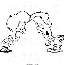 Small Picture Vector of a Cartoon Boy and Girl Having a Yelling Match Coloring