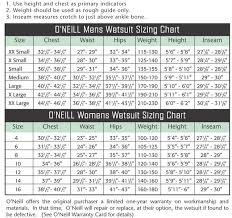 Oneill Size Chart Wetsuit Wetsuits Size Chart