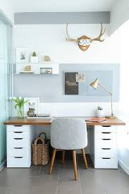 wood countertop desk on file cabinets
