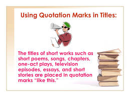 rules for italics and underlining and quotation marks ppt video  using quotation marks in titles