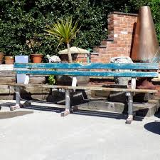 distressed green painted garden bench