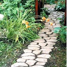 decorative stepping stones trellis flowers porch rustic with