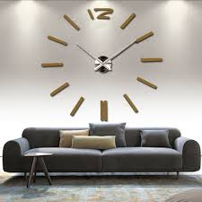 3d Real Big Wall Clock Rushed Mirror Sticker Diy Living Room Decor