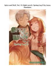 Spice And Wolf Light Novel Epub Epub Download Spice And Wolf Vol 19 Light Novel Spring