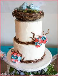 Rustic Buttercream Iced Wedding Cake With Fondant Branches Hydrangea