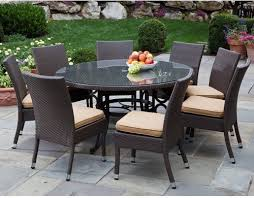 alfresco home vento 60 in round all weather wicker patio dining set seats 8 s contemporary
