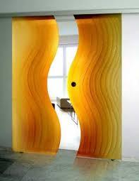 contemporary interior door designs. Yellow Glass Doors With Wavy Decoration Pattern Contemporary Interior Door Designs