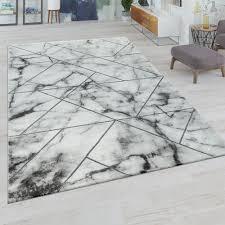 Kurzflor Teppich Marmor Design Grau Weiß Teppichcenter24