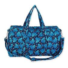 Laurel Burch Quilted Cotton & Quilted Indigo Cats Weekender Bag Adamdwight.com