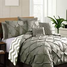 7 piece pinch pleat comforter set grey by ramesses